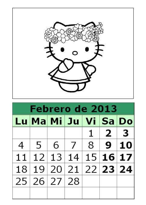 Calendario Febrero 2013 Para Colorear Hello Kitty