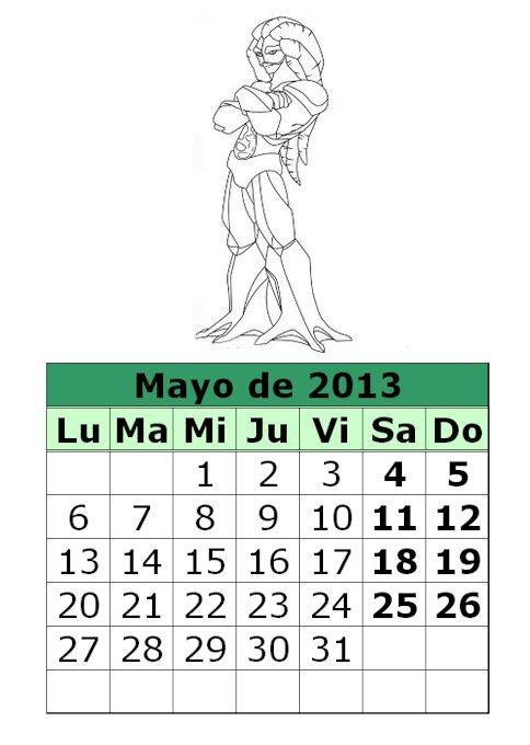 calendario-para-colorear-de-Gormiti-mayo-2013 | laclasedeptdemontse