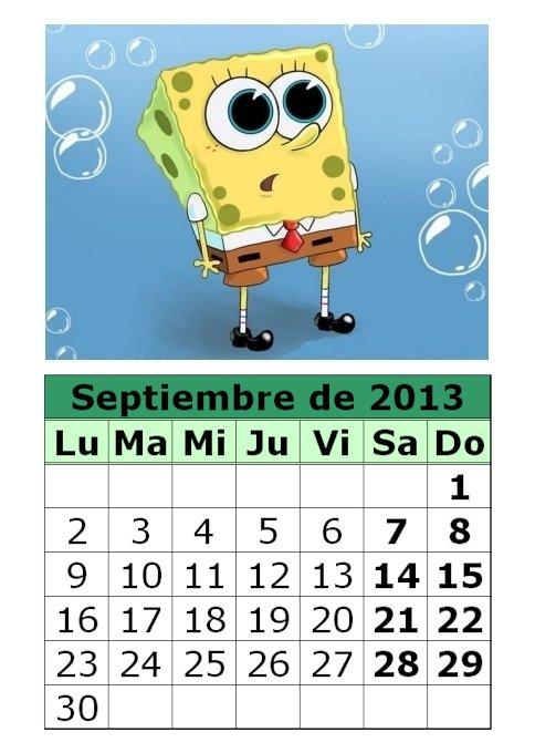 calendario-septiembre-2013-Bob-EsponjaCalendario Septiembre 2013