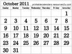 2Ca1 Free Calendar 2011 October printable
