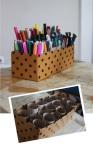 proste pomysły przechowywanie długopisów w rolkach toaletowych
