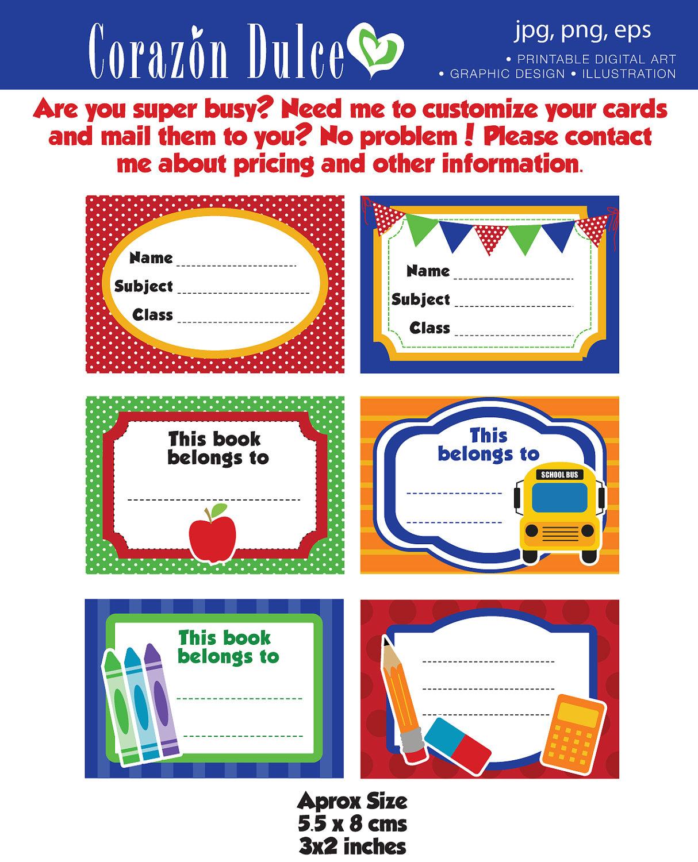 Boys Premium Name Labels: Etiquetas Para Los Cuadernos