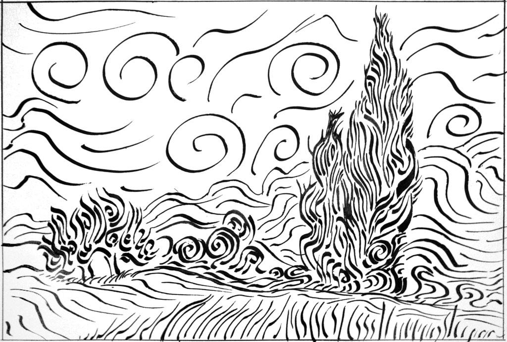 Asombroso Van Gogh Para Colorear Bandera - Dibujos Para Colorear En ...