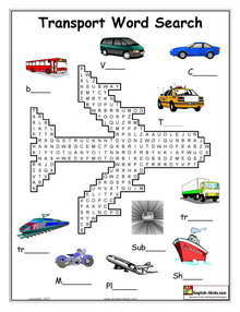 Transport Word Search on Crossword Puzzle Math Worksheets