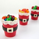 White chocolate Santa Suite Candy Cups for Christmas, holiday crafts for kids, edible crafts for Christmas, handmade chocolate