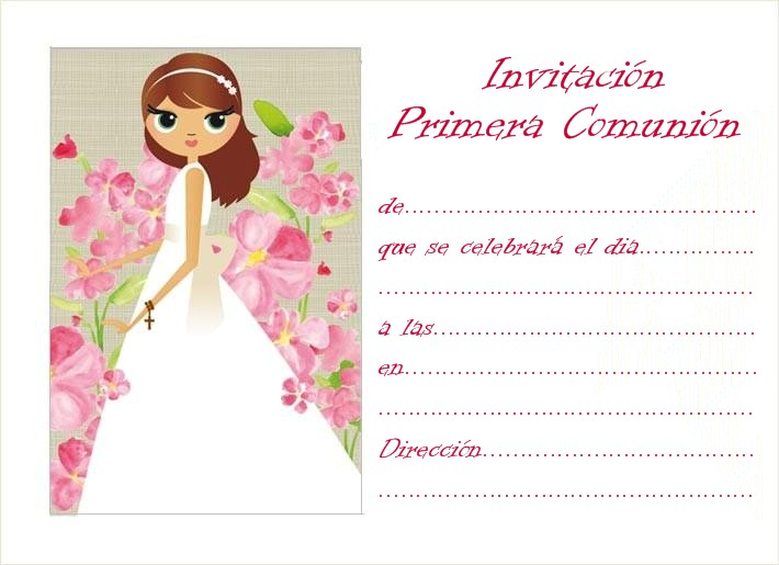 Invitaciones De Primera Comunion Para Imprimir