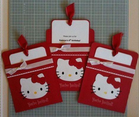 Tarjetas Cumpleanos Hello Kitty Caseras Roja