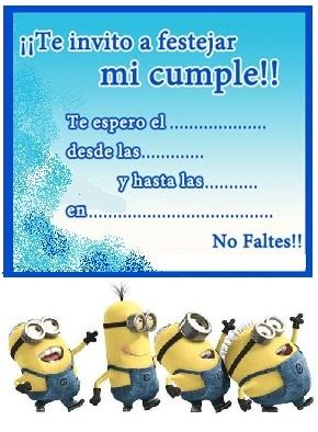 Tarjetas De Cumpleanos De Los Minions Invitacion Cumpleanos