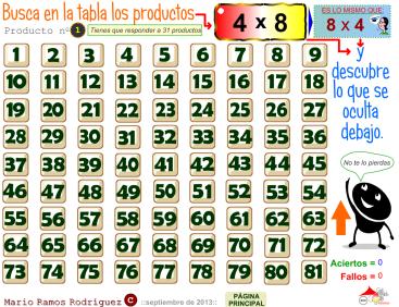 Resultado de imagen de juegos de tablas de multiplicar